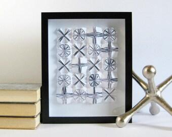 X+O Origami Paper Collage - Black & White Art - 8 x 10 Black Frame Shadow Box Art - Modern Wall Decor - Paper Anniversary - Contemporary Art