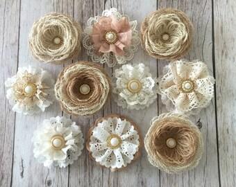 rustic flowers, handmade burlap and lace flowers, hwedding cake, bridal bouquets, headbands, set of 10