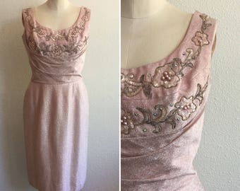 Pretty in Pink dress  Vintage wiggle dress with embroidery   1950's dusty rose dress with beading