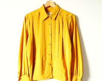 Vintage Saffron Yellow Pleated Blouse / Double Cuffed Romantic Pleated Top / Mustard Yellow Romantic Blouse