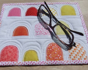 Summer Quilted Mug Rug Gumdrops mini quilt kitchen patio coffee table decor, summertime large coaster bright colorful small place mat