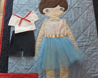Paper Doll Quilt for Girls CUSTOM made for you, Quilted Baby Blanket perfect for Toddlers Little Girls Room Decor Godmother Grandma Gifts