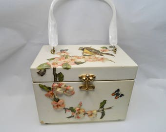 Vintage Wooden Box Handbag Raised Decoupage Birds and Dogwood Flowers 1950s Annie Laurie Style Purse Mother of Pearl Lucite Handle