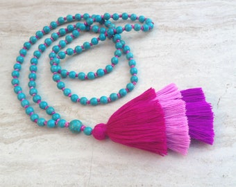Amara Turquoise Tiered Tassel Necklace, Ombre Tassel Necklace, Modern, Colorful, Boho Jewelry, Turquoise Bead Necklace, Friend Gift,Birthday