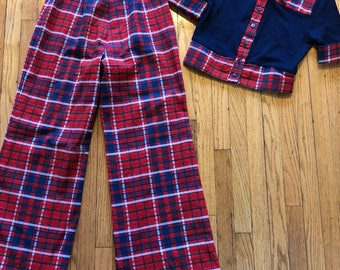 1970s Young Edwardian Plaid pantsuit sz s glam bay city rollers