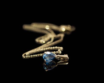 BLUE TOPAZ DROP | Gold Necklace with London Topaz