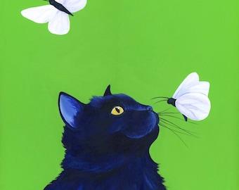 Black Cat Art Print Cat Artwork Cat Illustration Cat Lover Gift Animal Art Print Acrylic Cat Painting Black Cat Print Custom Cat Portrait