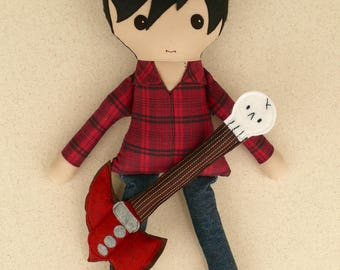 Reserved for Aletta - Fabric Doll Rag Doll Black Haired Boy Doll in Plaid Shirt with Jeans and Guitar