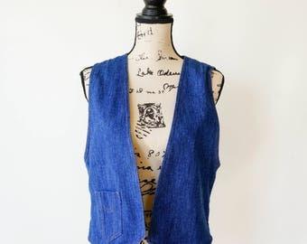 Vintage Denim Vest by Koret City Blues, 1980s Vest, Koret Clothing, Denim shirt Vintage Vest, Vintage Sweater Vest, Retro Clothing, Cardigan