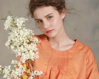 linen tunic, linen blouse in orange, loose fitting kimono top, linen top, longsleeve linen shirt, plus size, women linen top