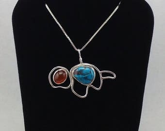 Sterling Silver Turtle Pendant necklace,carnelian,turquoise, tortoise gemstone necklace