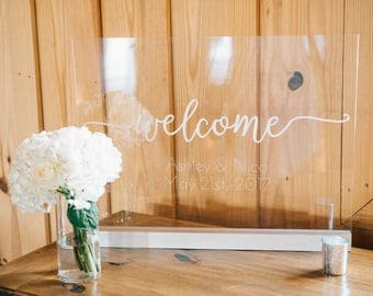 18x24 Acrylic Sign - Welcome, Wedding Welcome Sign, Plexiglass Wedding Sign, Entry Sign, Birthday Sign, Vinyl Sign, Rustic, Script