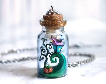Nightmare Before Christmas bottle necklace, Tim Burton polymer clay necklace, geek jewelry, geeky girl gift, for her, fantasy jewelry,