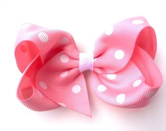 Light pink polka dot hair bow - light pink bow, 4 inch bows, girls hair bows, girls bows, pinwheel bows, toddler bows, pink hair bows