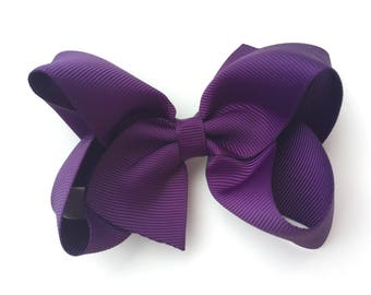 4 inch dark purple hair bow - dark purple bow, purple hair bow, toddler bow, 4 inch bow, girls bow