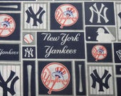 New York Yankees Baseball, MLB Fabric, NY Yankees Fabric, Cotton Broadcloth Fabric, by the Half Yard