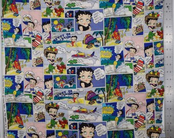 Betty Boop on Vacation, Betty in Paradise, Vintage Betty Boop Fabric, Max Fleischer Studio, Quilting Cotton, OOP, 7/8 Yard