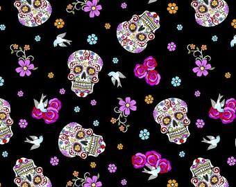 Glitter Sugar Skulls, Day of the Dead, Cotton Quilting Fabric, Día de Muertos, David Textiles, by the Half Yard