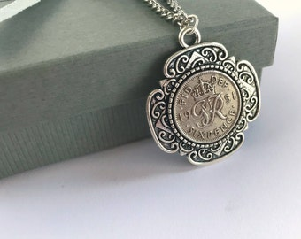 Vintage Style Coin Necklace, Sixpence Coin Necklace, Coin Jewelry, Vintage Coin Pendant, Coin Jewellery, Sixpence Jewelry, Sixpence Wedding