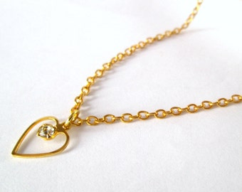 Gold Heart Necklace, Heart Necklace, Small Gold Heart Necklace, Heart Pendant, Simple Pendant Necklace, Necklace for Her, Heart Jewellery