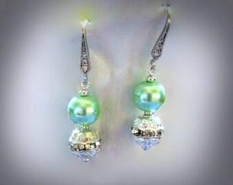 mint green pearl earrings with clear rhinestone bead rhinestone encrusted earring hooks pearl dangle earrings pearl drop earrings