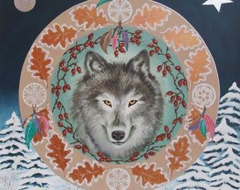 Mandala Animal Totem - Le Loup - Création Ethnique - Peinture acrylique sur toile et techniques mixtes - 70 cm x 70 cm - Sur commande
