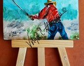 "Cowboy Golfer, original acrylic painting, miniature 2 1/2"" x 3 1/2"" on clayboard, mounted to an easel, western, original art of cowboy golf"