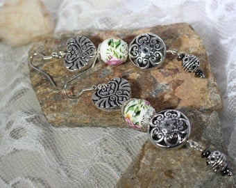 Tibetan Silver, handmade, boho, fun, whimsical, dangles, beaded, drop earrings, porcalon