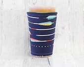 Iced Coffee Cozy, Coffee Cozy,Arrows on Navy Cup Cozy, Cup Sleeve, Arrow Coffee Cozy, Coffee Cuff, Caffeine Cuff, Insulated Cup Sleeve