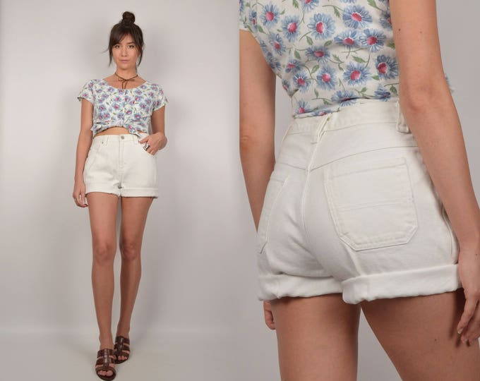 White High Waisted Denim Roll Up Shorts Cuffed
