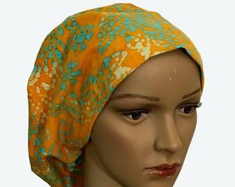 Euro Scrub Hat - Beautiful Tie Dye Light Green Polka Dot Flowers on Orange Scrub Hat for women - Slouchy hat with Tie Dye Design