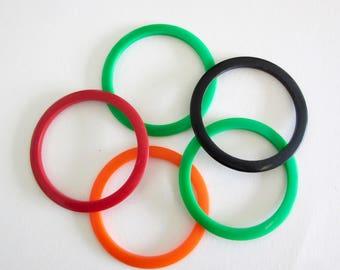 Colorful Plastic Bangles - 5 Bangles - Plastic Bracelets