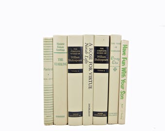 Creamy Tan Decorative Books, Beige Book Decor, Wedding Decoration, Shabby Chic Old Books,   Antique Book set, Country chic, shakespeare
