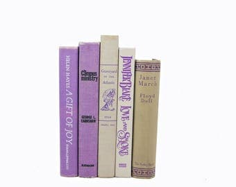 Purple lavender Antique Decorative Books, Beige Book Decor, Wedding Centerpiece, Old book set, Book COllection Instant LIbrary