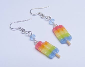 Food Jewelry Rainbow Jewelry Ice Lolly Earrings Miniature Food Earrings Food Jewelry Food Jewellery Mini Food Popsicle Earrings Gay Pride
