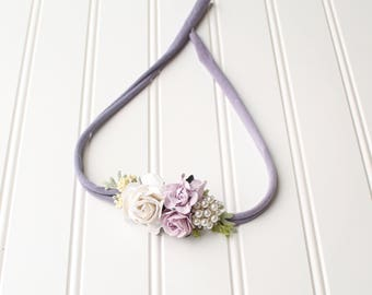 Lovely in Lilac - dainty style headband in dusty lilac, lavender, dusty purple, ivory and cream with diamonds and pearls (RTS)