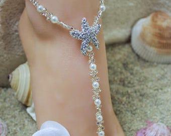 Barefoot Sandals Starfish Foot Jewelry Beach Wedding Barefoot Sandals Silver Starfish Anklet Something Pearl Destination Bride Blue Shoe
