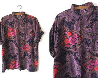 Paisley Goth Floral Button Down Shirt - 90s Vaporwave Pastel Tapestry Print Abstract Short Sleeve Shirt - Mens Medium