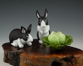 Dutch Rabbits with Cabbage - Glass Sculpture