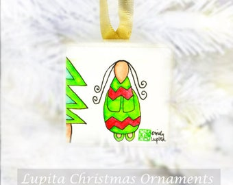 Ornament / Mini Paintings / Christmas Tree Ornament / Nursery Baby Shower Gift/ Baby's First Christmas / Unique Handmade Miniature Artwork