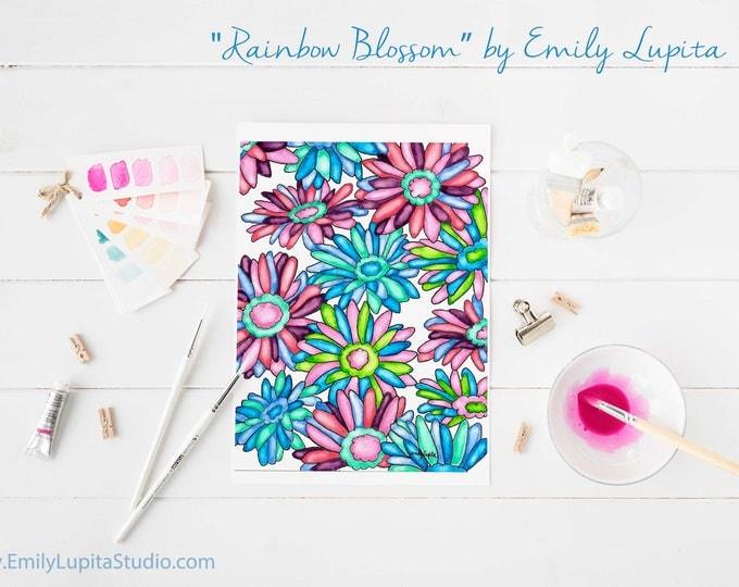Original Painting / Watercolor Flowers / Rainbow Blossoms / Garden Nature Art