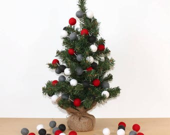 Christmas Red and Grey Felt Ball Garland, Pom Pom Garland, Nursery Decor, Bunting Banner, Party Decor, Holiday