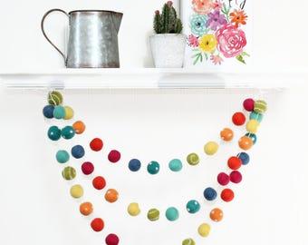 Felt Ball Garland Spring Easter, Pom Pom Garland Spring, Easter Garland, Kids Room Garland, Playroom Garland, Spring Decoration