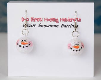 Whimsical Hand-Painted Snowman Earrings, Snowman Christmas Earrings