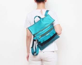 Vegan leather backpack. Large shoulder bag. Shopping bag. School bag. Leather fringe. Metallic teal leather. Blue green backpack. / MAYA 10