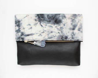 Dyed cotton clutch bag. Fold over clutch. Leather handbag. Statement purse.Hand colored. Simple daily purse.Black and white handbag. /MIA 69