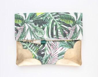 Flower clutch bag. Fold over clutch. Leather handbag. Statement purse. Tropical print fabric. Metallic gold leather handbag /TROPICANA 41