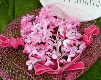 Pink Vintage Hat Flowers, Millinery Flowers, Pink Hat Flowers, Old Hat Flowers, Pink Hats, Vintage Millinery, Shabby and Chic Flowers, Hats