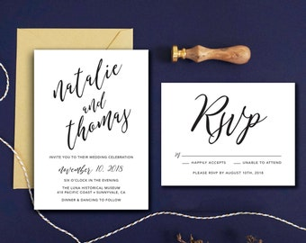 Calligraphy Wedding Invitation & RSVP Card - Kraft Paper Invitation - Calligraphy Invitation Wedding Invitation Printable