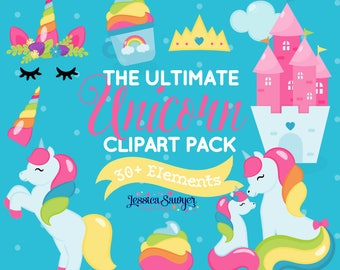 INSTANT DOWNLOAD, unicorn clipart for planner stickers, crafts, and projects